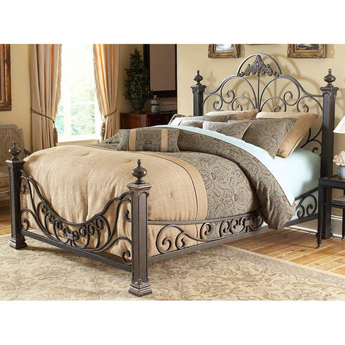 Our Baroque Ornate Poster Metal Bed With Frame Cal King