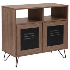 "Woodridge Collection 29.75""W Rustic Wood Grain Finish Console and Storage Cabinet with Metal Doors"