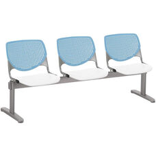 2300 KOOL Series Beam Seating with 3 Poly Sky Blue Perforated Back Seats and White Seats