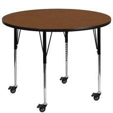 Mobile 48'' Round Oak HP Laminate Activity Table - Standard Height Adjustable Legs