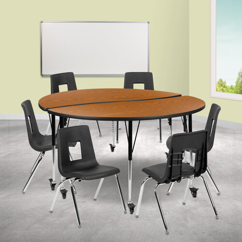 "Our Mobile 60"" Circle Wave Collaborative Laminate Activity Table Set with 18"" Student Stack Chairs, Oak/Black is on sale now."