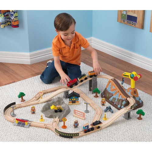 Our Kids Construction Train Play Set and Storage Bucket Includes 61 Pieces is on sale now.