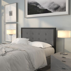Bristol Metal Tufted Upholstered Full Size Headboard in Dark Gray Fabric