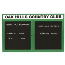 2 Door Outdoor Enclosed Directory Board with Header and Green Anodized Aluminum Frame - 36