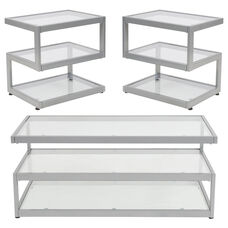 Ashmont Collection 3 Piece Coffee and End Table Set with Glass Tops and Silver Metal Frames
