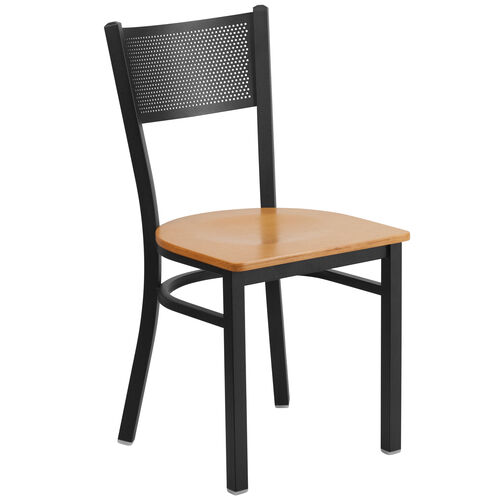 Our Black Grid Back Metal Restaurant Chair with Natural Wood Seat is on sale now.