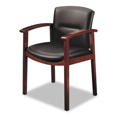 HON® 5000 Series Park Avenue Collection Guest Chair - Black Leather/Mahogany Finish