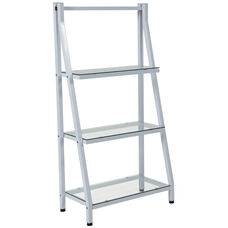 Winfield Collection Glass Bookshelf with White Metal Frame