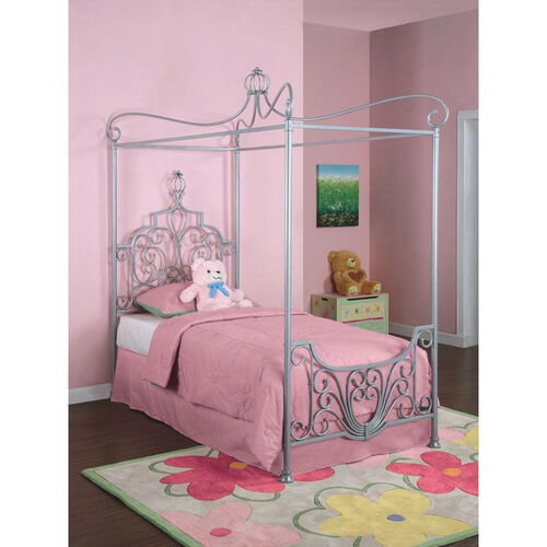 Our Princess Rebecca Canopy Twin Bed - Sparkle Silver is on sale now.