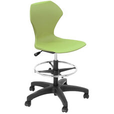 Apex Series Plastic Height Adjustable Swivel Stool with Foot Rest and 5 Star Base - Apple Seat - 21