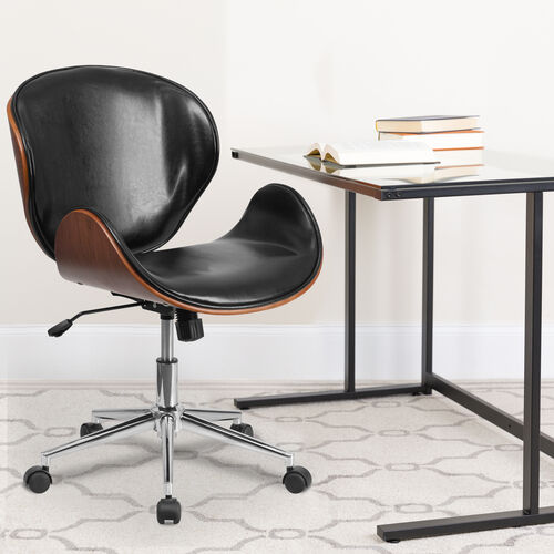 Mid-Back Wood Conference Office Chair with LeatherSoft Seat
