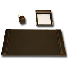 Wood and Leather 3 Piece Desk Set - Walnut and Black