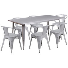 """Commercial Grade 31.5"""" x 63"""" Rectangular Silver Metal Indoor-Outdoor Table Set with 6 Arm Chairs"""