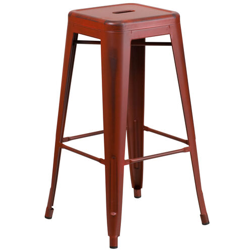 """Our Commercial Grade 30"""" High Backless Distressed Kelly Red Metal Indoor-Outdoor Barstool is on sale now."""