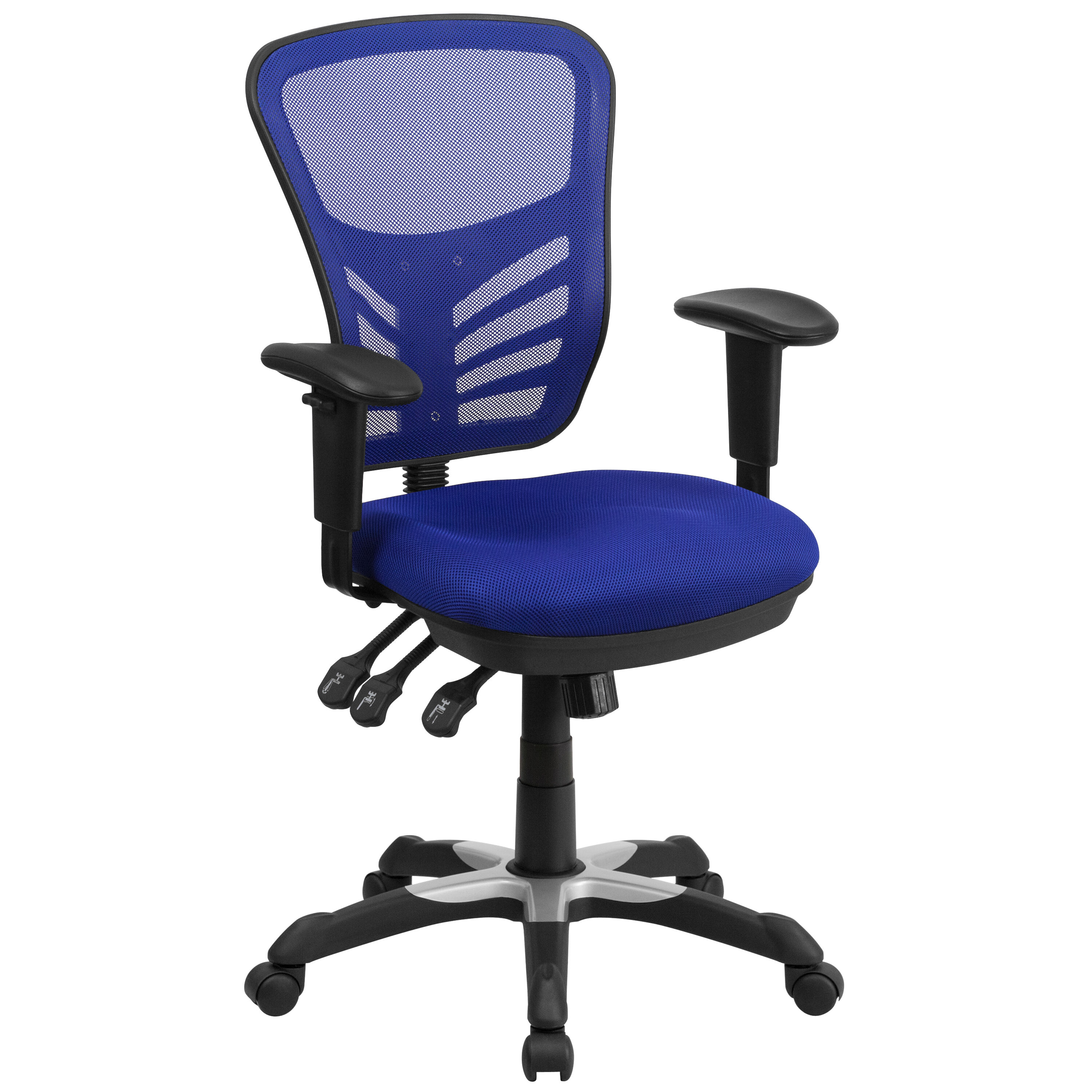 Mid Back Blue Mesh Multifunction Executive Swivel Chair With Adjustable Arms
