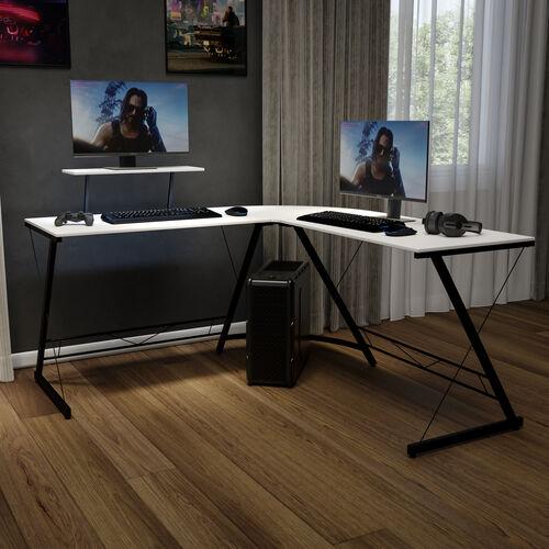 "L-Shaped Desk 71.5"" Computer Corner Desk, Home Office Corner Desk, Gaming Desk, Space Saving, Easy to Assemble, White/Black"