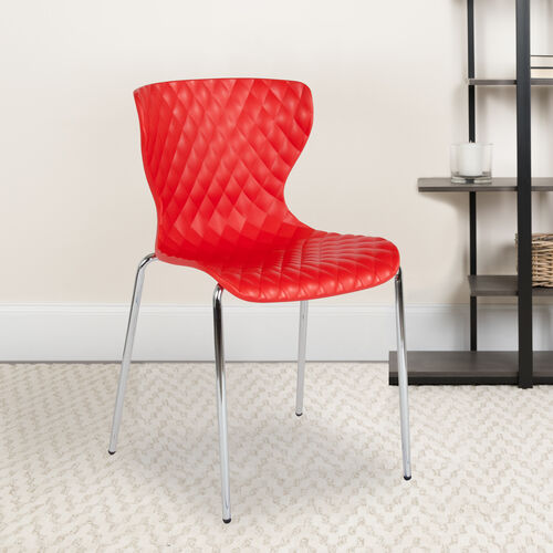 Our Lowell Contemporary Design Red Plastic Stack Chair is on sale now.