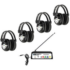 Black Deluxe Bluetooth Enabled Wireless Headphone Listening Center with Leatherette Ear Cushions and Multi-Frequency Transmitter - Set of 4 Headphones