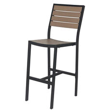 Napa Outdoor Armless Bar Chair with Gray Durawood Slat Back and Seat - Black Powder Coat