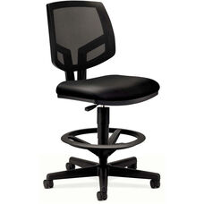 HON® Volt Series Black Mesh Back Adjustable Task Stool with Black Leather Seat and Footring