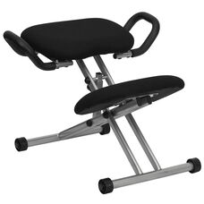 Ergonomic Kneeling Office Chair with Handles in Black Fabric