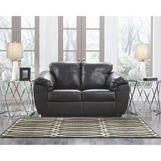 Benchcraft Fezzman Loveseat in Black Leather