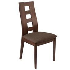 Preston Espresso Finish Wood Dining Chair with Window Pane Back and Golden Honey Brown Fabric Seat