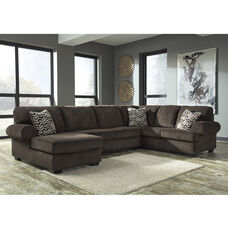 Signature Design by Ashley Jinllingsly 3-Piece RAF Sofa Sectional in Chocolate Corduroy