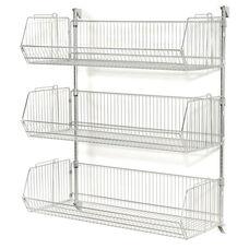 Chrome 3 Tier Wall Mount Basket Shelving - 48