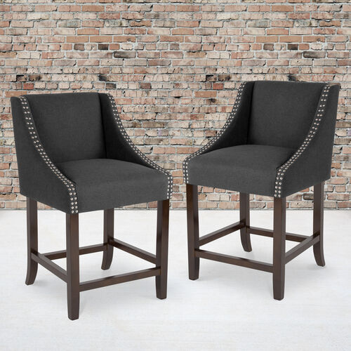 """Carmel Series 24"""" High Transitional Walnut Counter Height Stool with Nail Trim in Charcoal Fabric, Set of 2"""