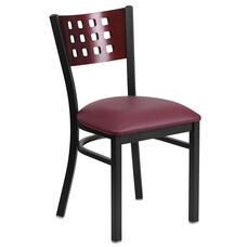 Black Decorative Cutout Back Metal Restaurant Chair with Mahogany Wood Back & Burgundy Vinyl Seat