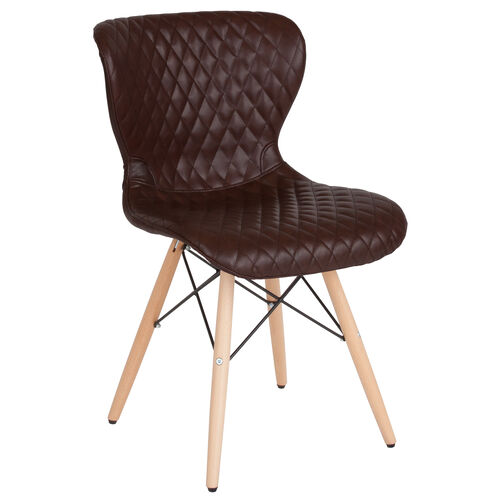 Our Riverside Contemporary Upholstered Chair with Wooden Legs in Brown Vinyl is on sale now.