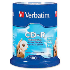 Verbatim Blank White Cd-R Printable Disks - Pack Of 100