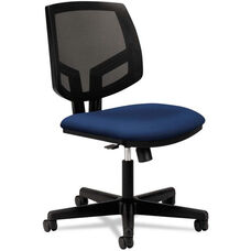 HON® Volt Series Black Mesh Back Task Chair with Synchro-Tilt and Navy Fabric Seat