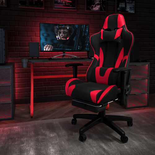 BlackArc Red Gaming Desk and Red/Black Footrest Reclining Gaming Chair Set with Cup Holder and Headphone Hook