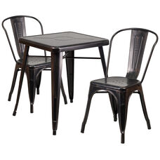 "Commercial Grade 23.75"" Square Black-Antique Gold Metal Indoor-Outdoor Table Set with 2 Stack Chairs"
