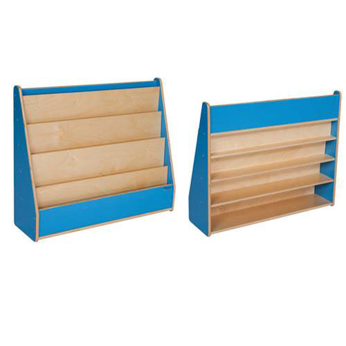 Our Blueberry Book Display Stand with Five Sloping Hardboard Shelves on Front and Four Shelves on Rear - Assembled - 34