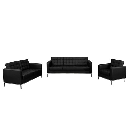 "Our HERCULES Lacey Series Reception Set in Black LeatherSoft with <span style=""color:#0000CD;"">Free </span> Tables is on sale now."