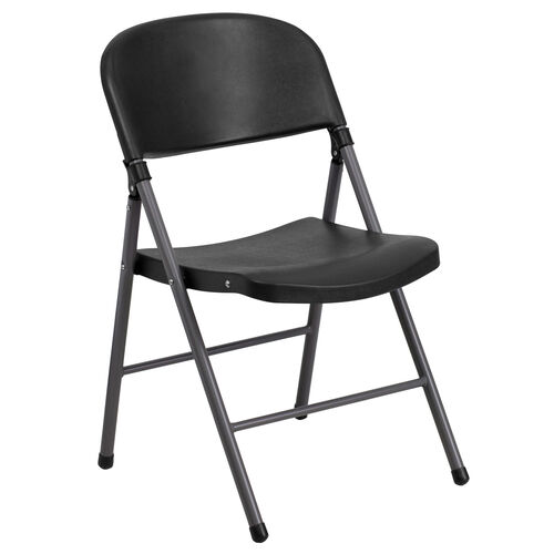 HERCULES Series 330 lb. Capacity Plastic Folding Chair with Charcoal Frame