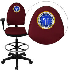 Embroidered Mid-Back Burgundy Fabric Multifunction Ergonomic Draft Chair with Adjustable Lumbar Support & Arms