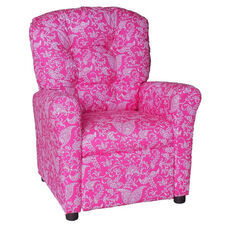 Kids Recliner with Button Tufted Back - Small Paisley Pink