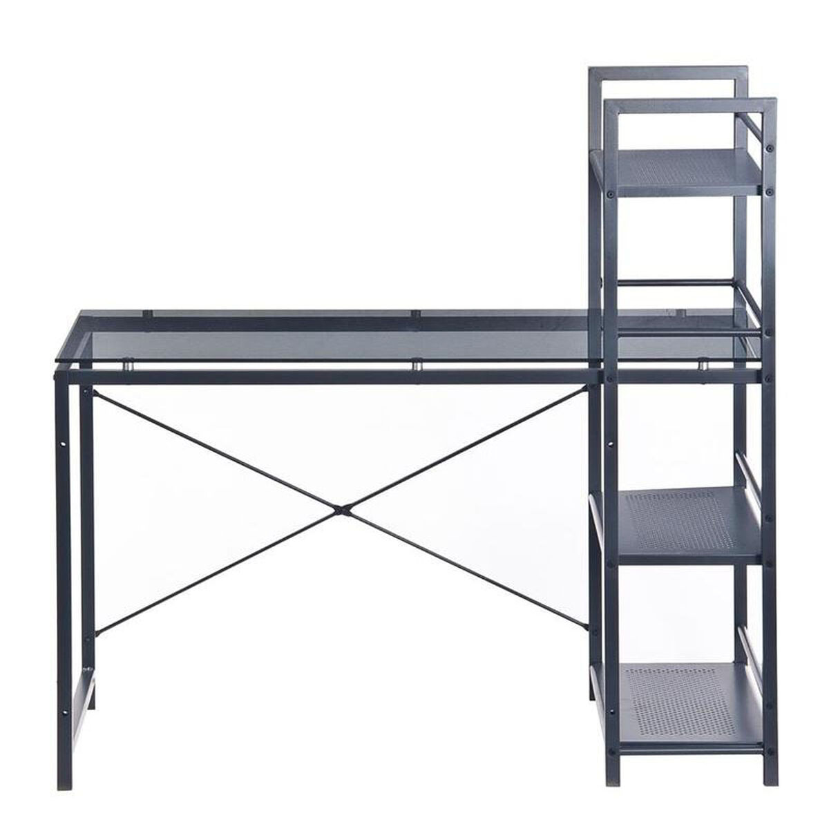 Our Techni Mobili Glass Desk With Built In Shelves Gray Is On Now