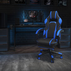 X40 Gaming Chair Racing Ergonomic Computer Chair with Fully Reclining Back/Arms, Slide-Out Footrest, Massaging Lumbar - Black/Blue