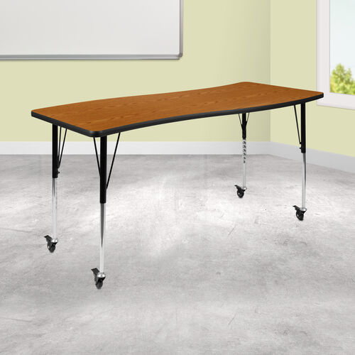 """Mobile 26""""W x 60""""L Rectangular Wave Collaborative Oak Thermal Laminate Activity Table - Standard Height Adjustable Legs"""