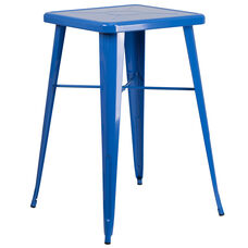 "Commercial Grade 23.75"" Square Blue Metal Indoor-Outdoor Bar Height Table"