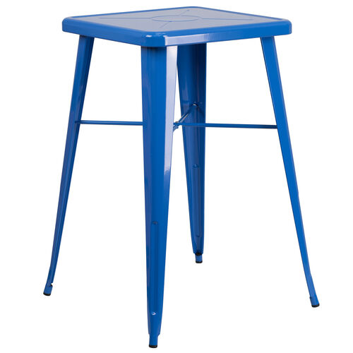 "Our Commercial Grade 23.75"" Square Blue Metal Indoor-Outdoor Bar Height Table is on sale now."