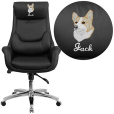Embroidered High Back Black Leather Executive Swivel Chair with Lumbar Pillow and Arms