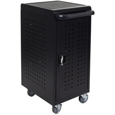 Locking Steel 24 Tablet Compact Charging Cart - Black - 20.5''W x 21''D x 37.75''H
