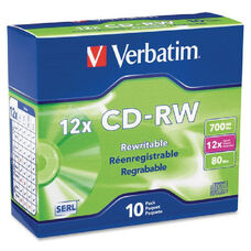 Verbatim High Speed Branded Cd-Rw Discs - Pack Of 10