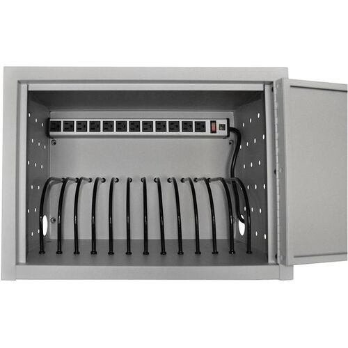 Our Locking Steel 12 Tablet Wall/Desk Mounted Charging Box - Gray - 19
